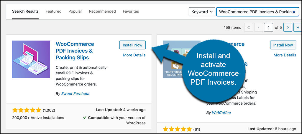 INstall and activate invoice PDF plugin