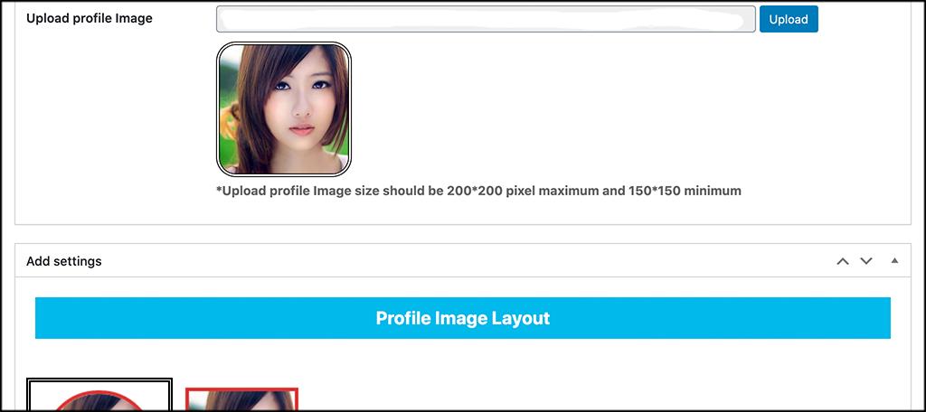 Profile image layout
