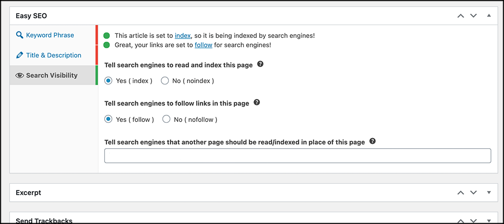 BoldGrid Easy SEo search engine visibility