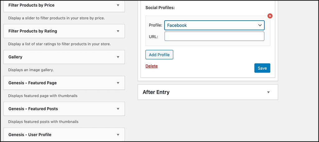 Add social profiles