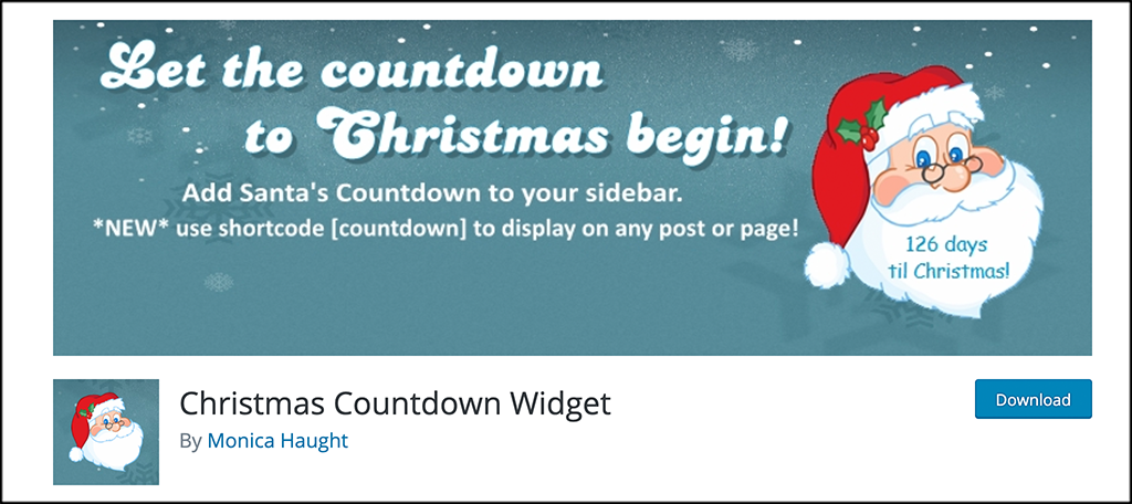 Christmas countdown widget