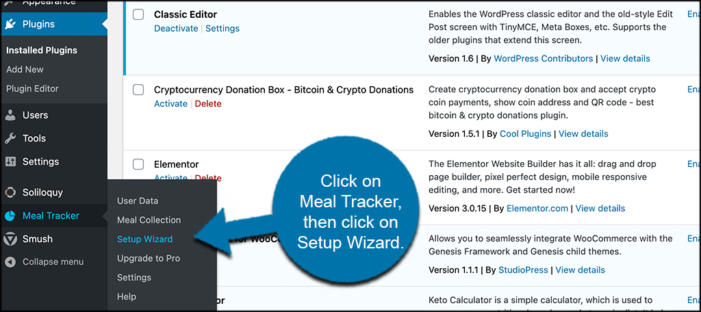 Click meal tracker then setup wizard