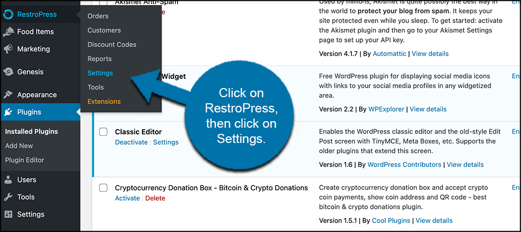 Click on restropress then on settings