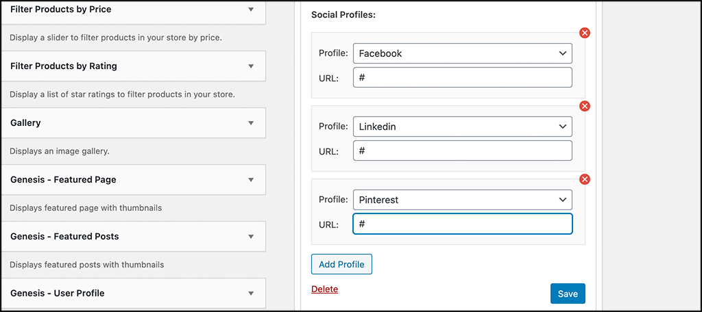Drag and drop social profile order