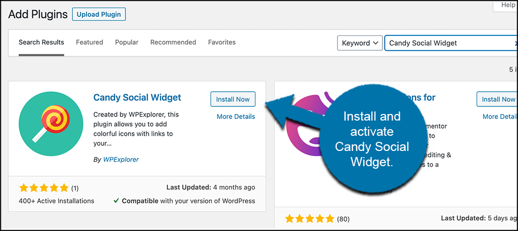 INstall and activate candy social widget