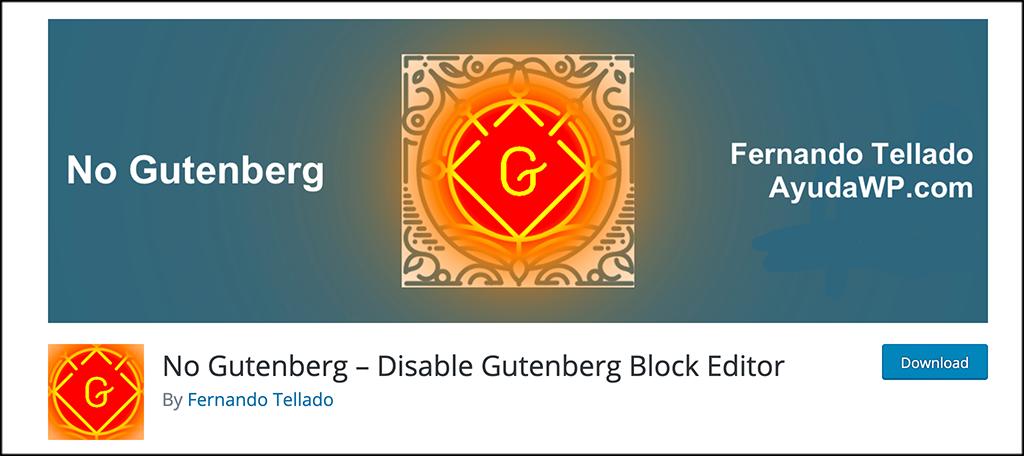 No gutenberg plugin