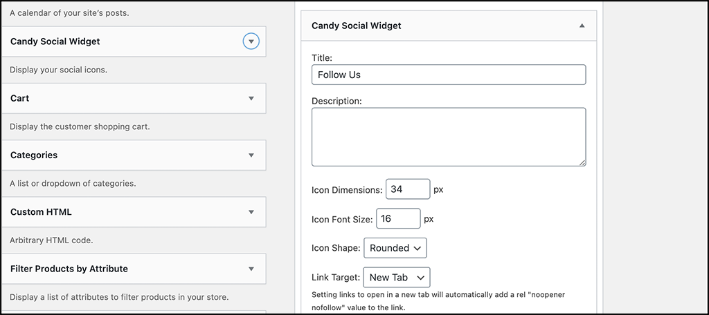 Select Candy Social Widget settings