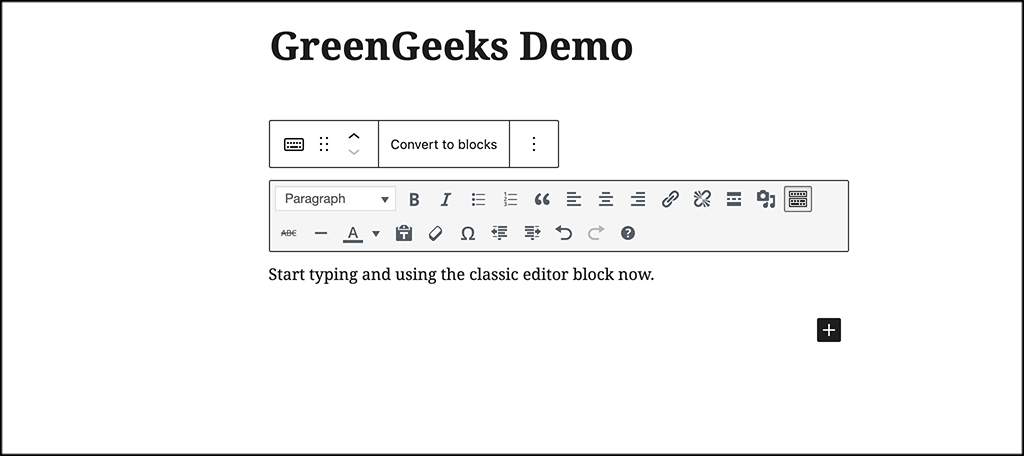 Start using the classic editor block