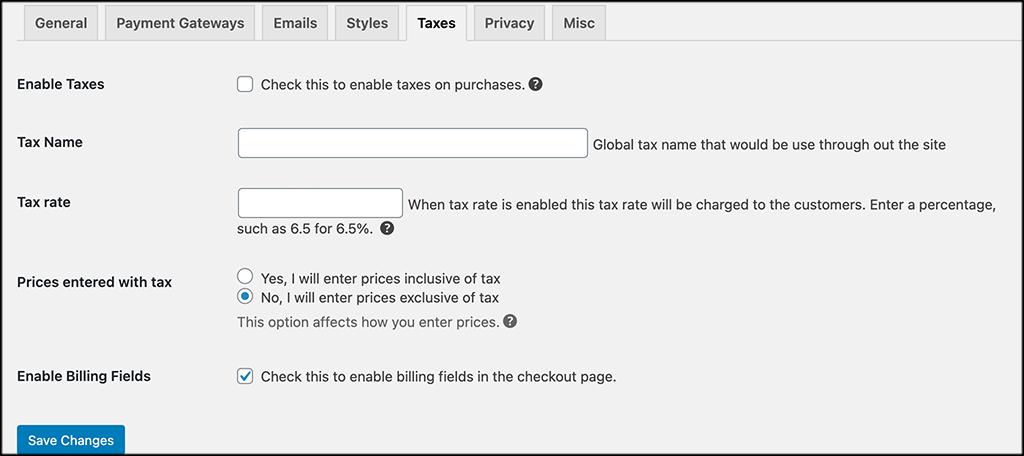 Taxes Tab