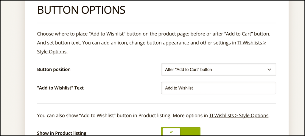 Configure button options for TI WooCommerce Wishlist