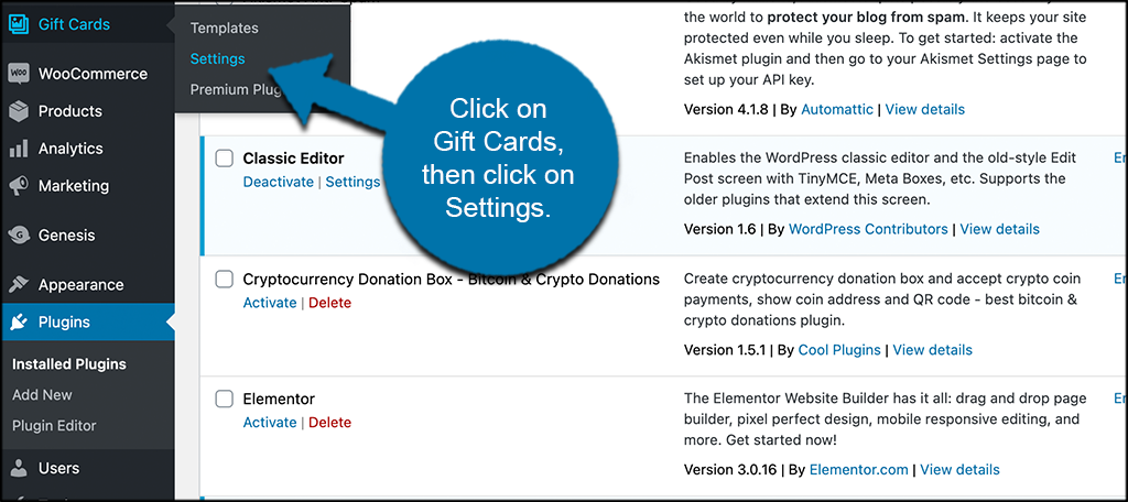 Click gift cards then settings