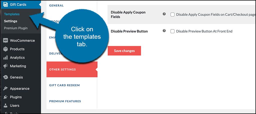 Click templates tab link