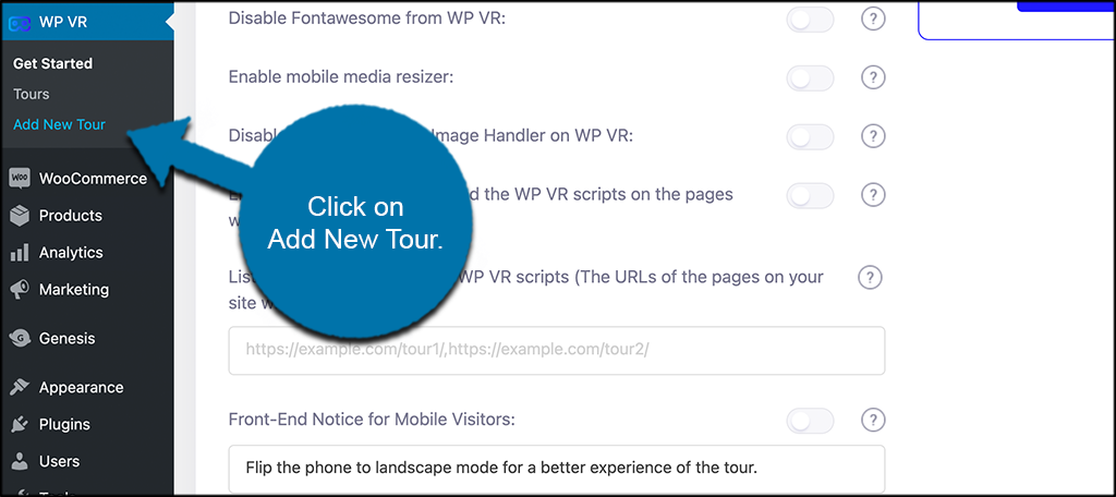 Click the ad new tour tab