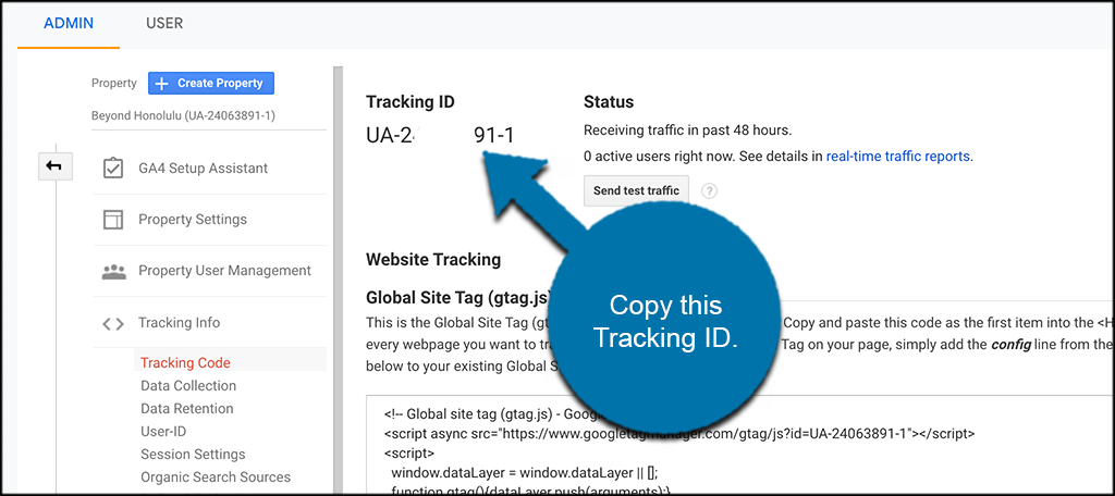 Copy the tracking code
