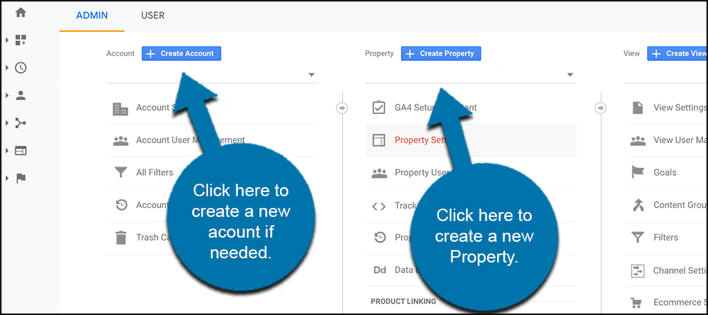 Create New google analytics 4 account or new property