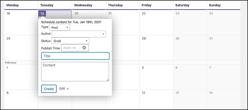 Create calendar content