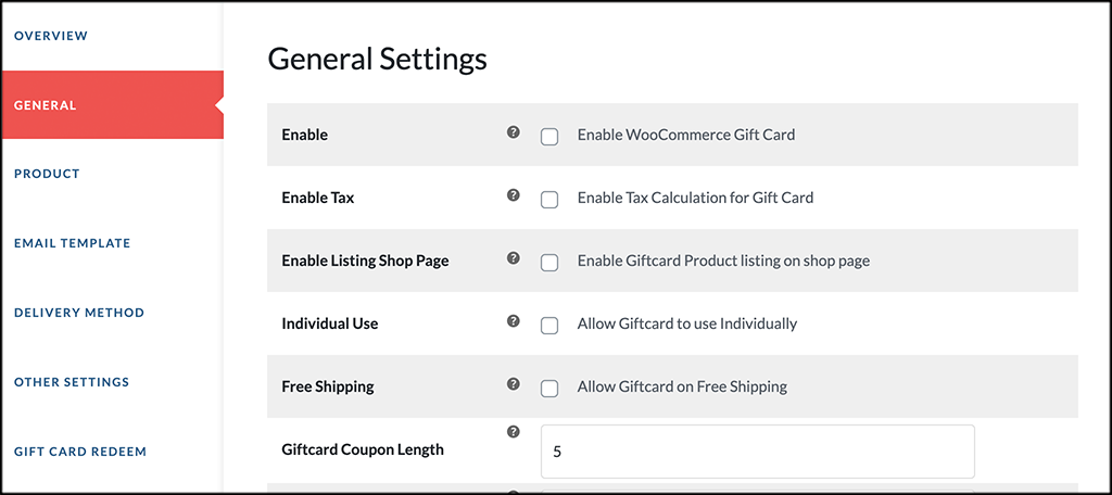General tab for ultimate gift cards