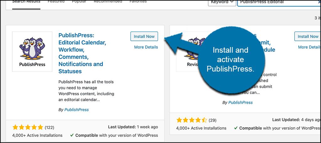 Install and activate publishpress editorial calendar