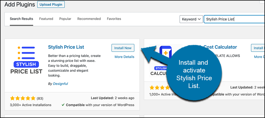 Install and activate Stylish Price List