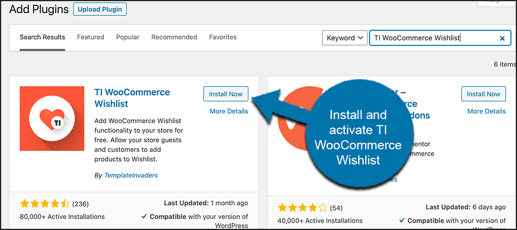 INstall and activate TI WooCommerce Wishlist