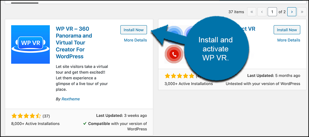 Install and activate WP VR