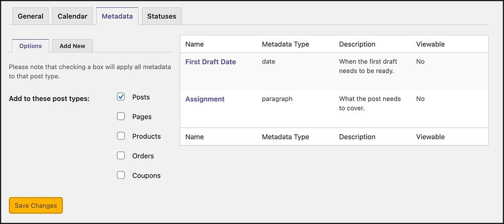 Metadata for publishpress editorial calendar