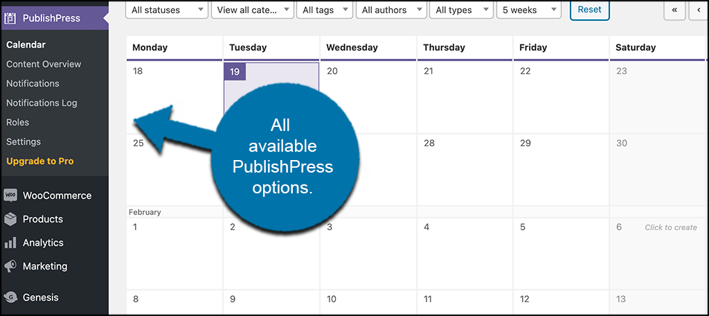 Other publishpress editorial calendar options
