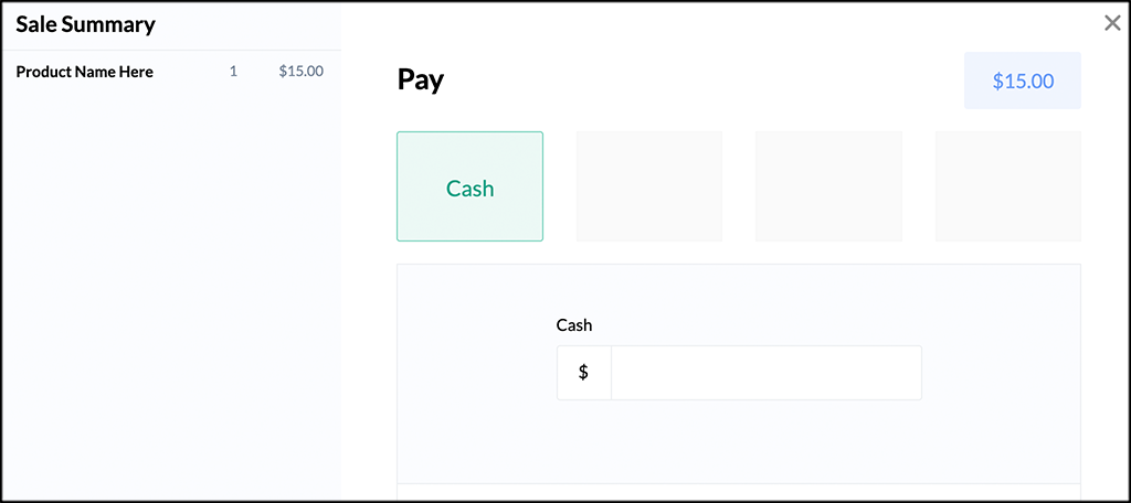 Payment Page for wePOS