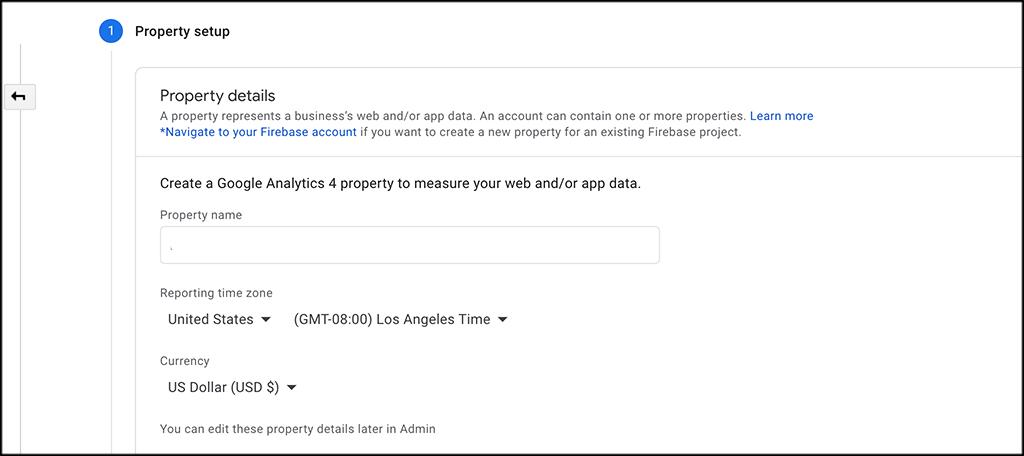 Google Analytics 4 property details