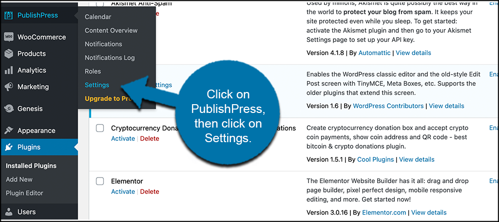 Click on publishpress then click on settings
