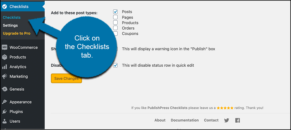 Click the checklists tab