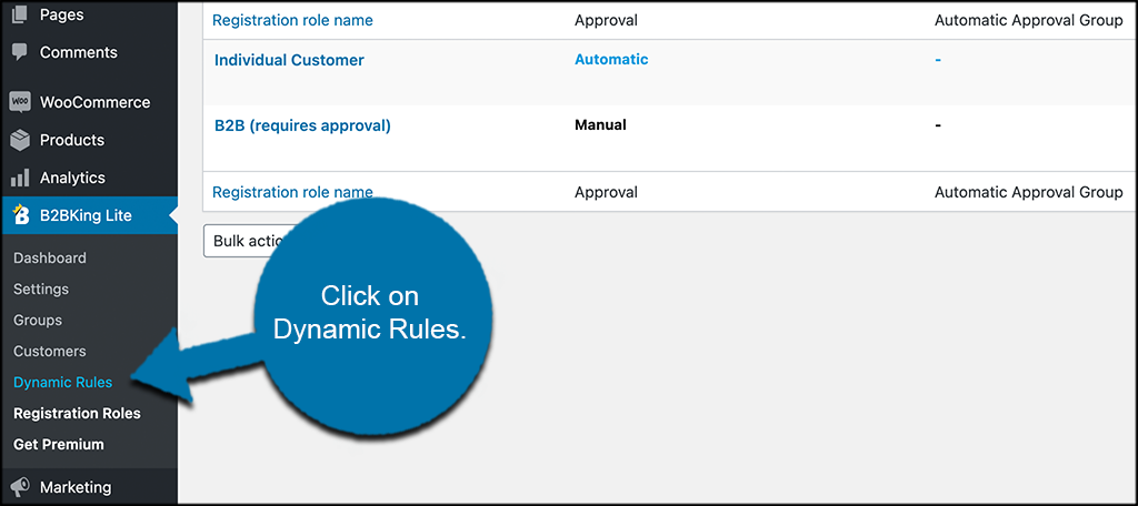 Click on dynamic rules tab