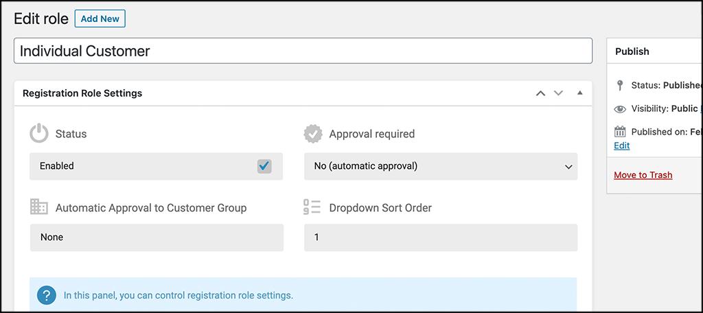 COnfigure registration role settings