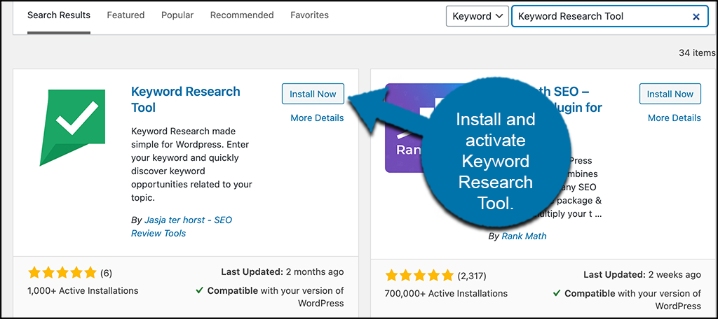Install and activate Keyword Research Tool