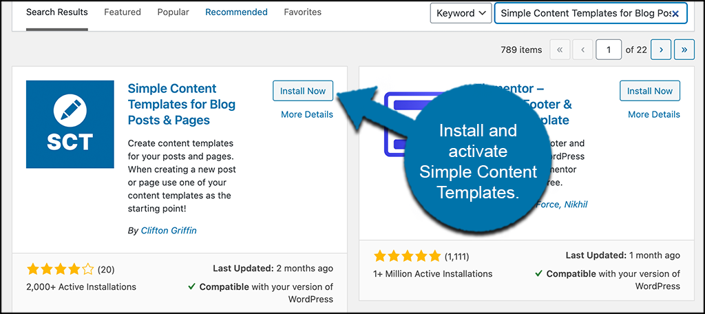 Install and activate simple content templates