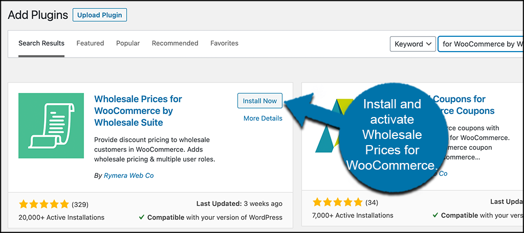 Install and activate wholesale prices plugin