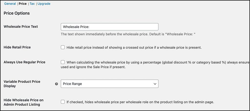 Price tab