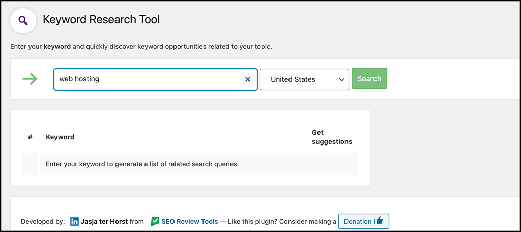 Select keyword and country