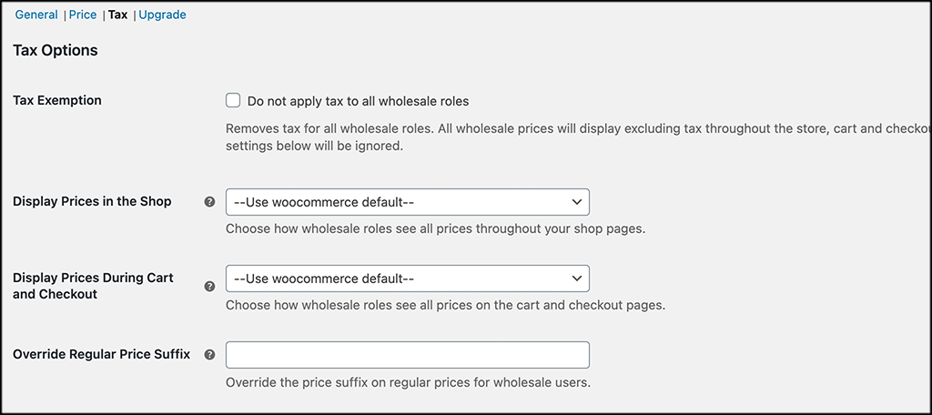Tax tab for wholesale prices