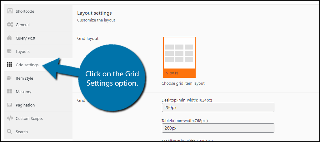 Grid Settings