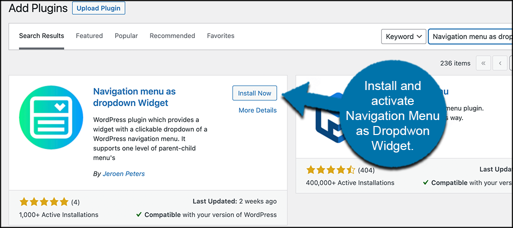 Install and activate the navigation widget plugin