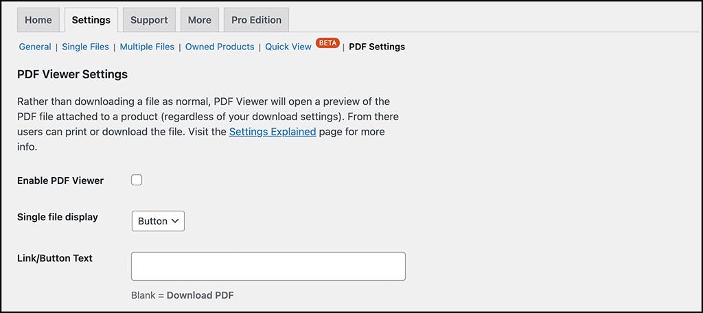 PDF setitngs tab