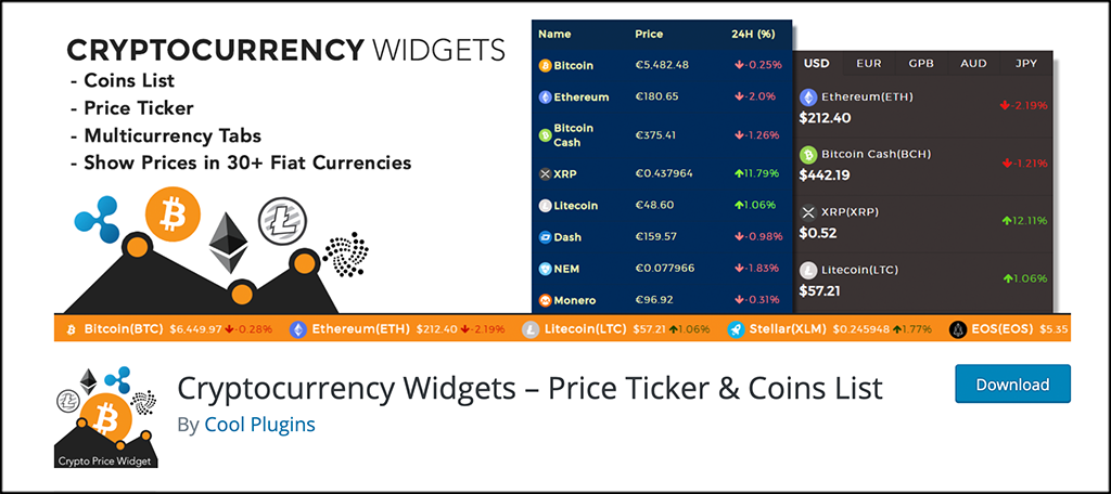 Cryptocurrency Widgets plugin