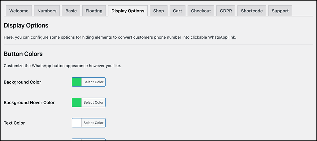 Display options tab