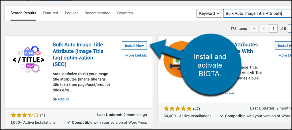 INstall and activate bigta to title tags to images