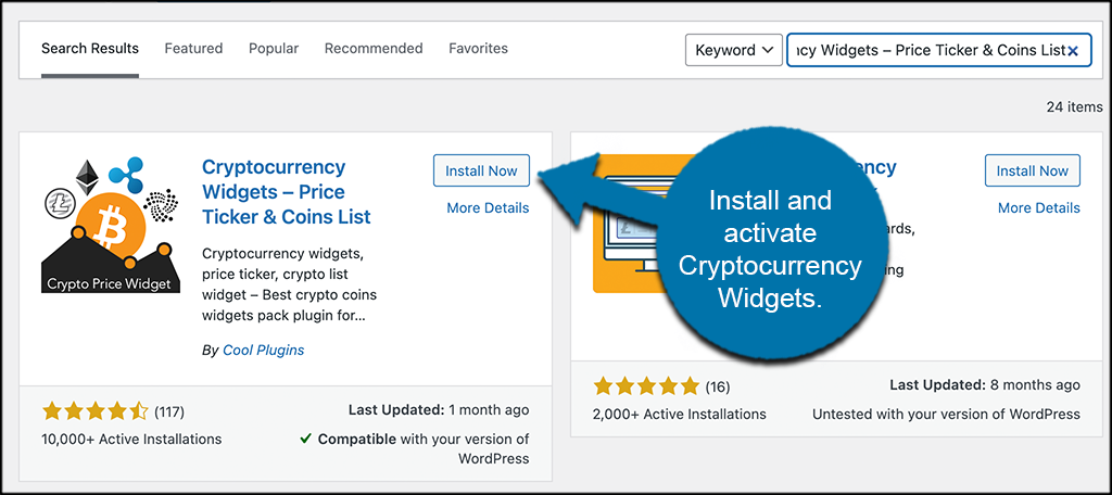 Install and activate cryptocurrency widgets plugin