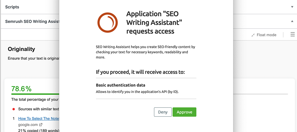 Approve access for Semrush