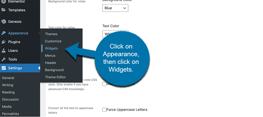 Click appearance then widgets