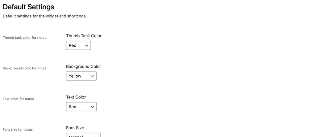 Default plugin settings