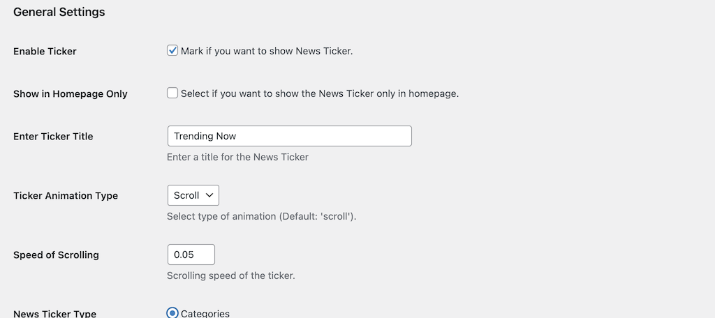 General settings for T4b News Ticker plugin